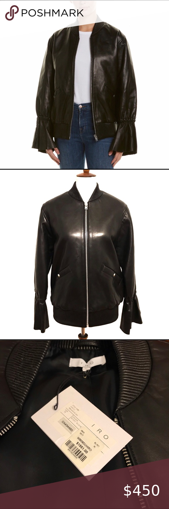 Nwt Iro Black Leather Bell Sleeve Moto Jac Nwt Iro Black 100 Lamb Leather Bomber Jacket Feature Leather Peplum Tops Iro Leather Jacket Leather Bomber Jacket [ 1740 x 580 Pixel ]