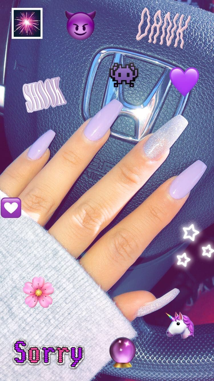 Long coffin acrylic nails lavender and silver | Coffin ...