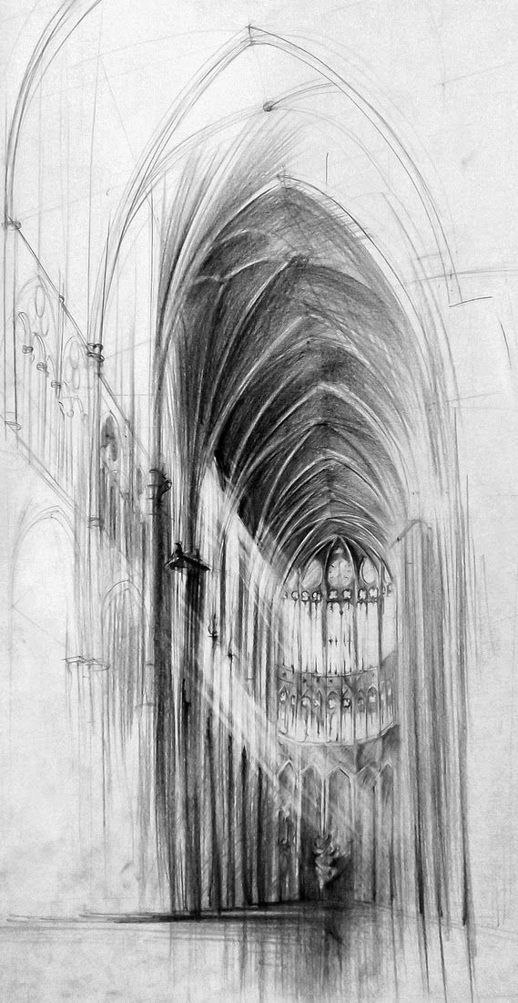 15 Interior Gothic Cathedral Lukasz Gac DOMIN Poznan Architectural Drawings Of Historic Buildings Designstack Co