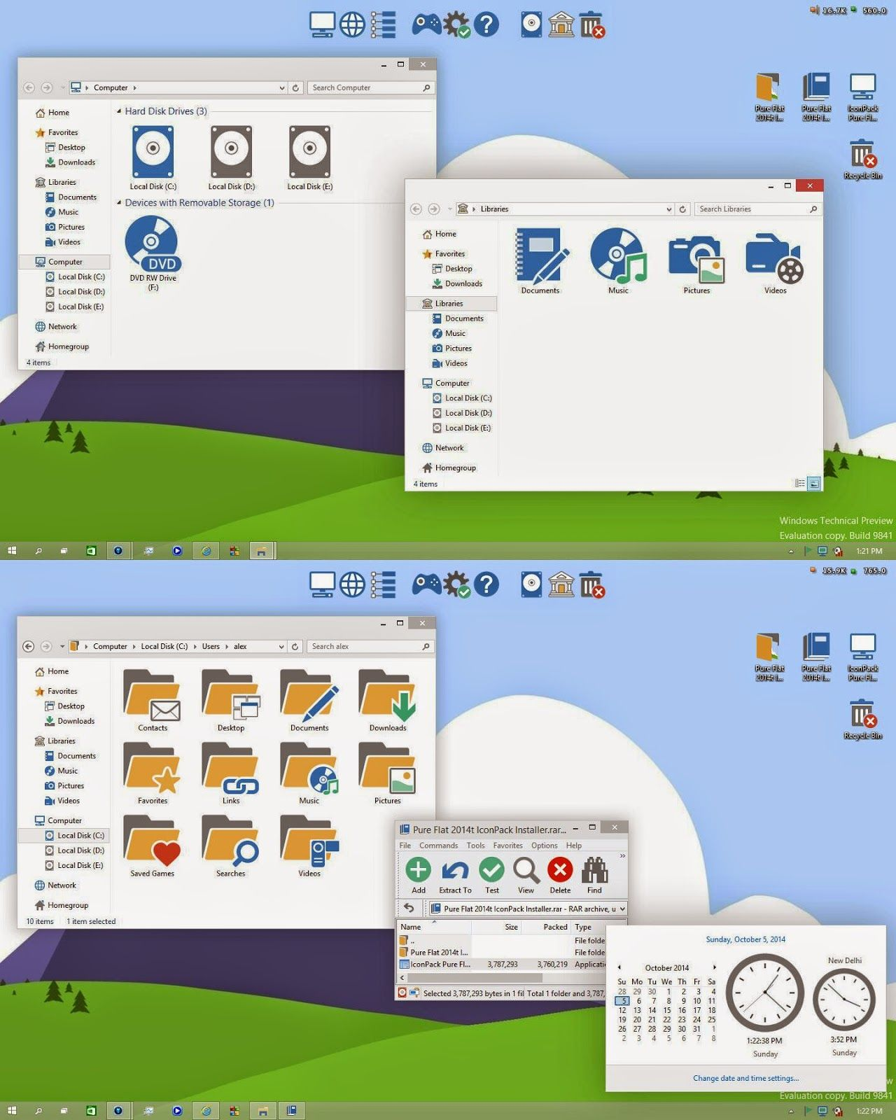 Pure Flat IconPack Installer For Windows 10/ 8/ 8.1/ 7