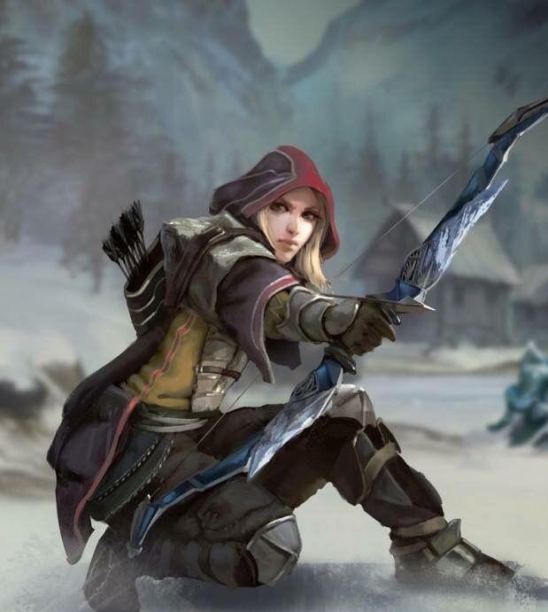 female halfelf or human ranger bow light armor