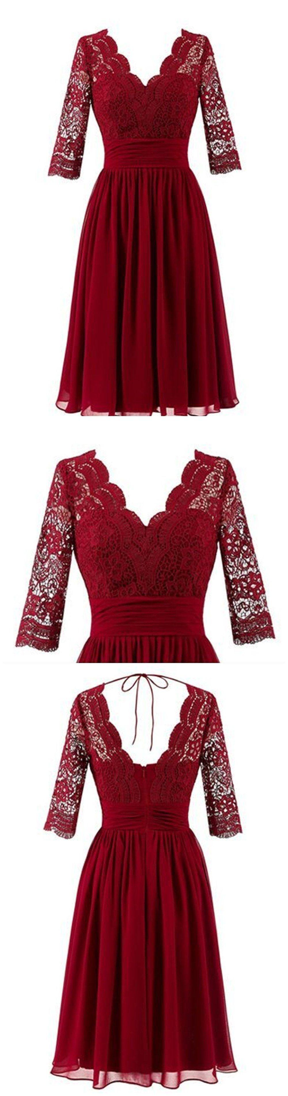 Dark red long sleeve lace short bridesmaid dresses cheap custom
