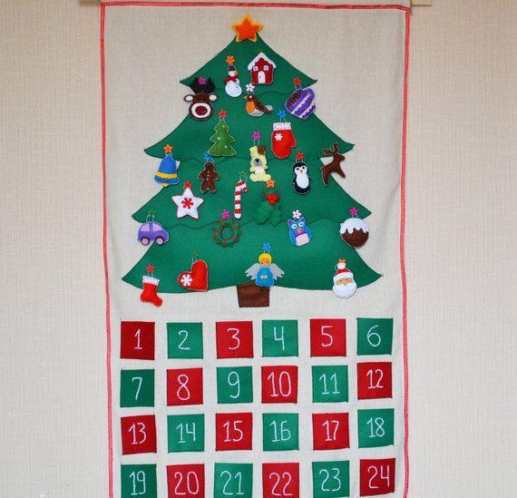Felt Christmas Tree Advent Calendar: Christmas Tree Advent Calendar With Ornaments Felt Advent