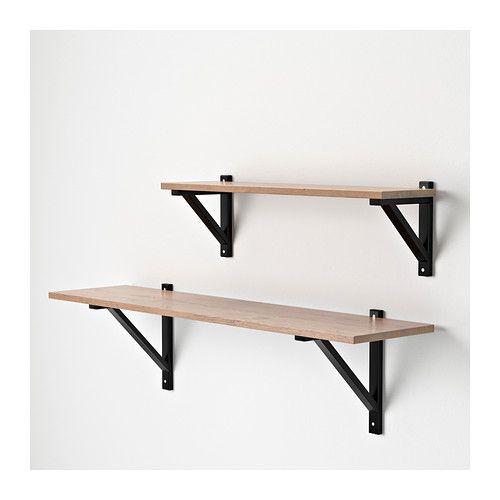 EKBY HEMNES Shelf, black brown HEMNES, Solid wood and Shelves
