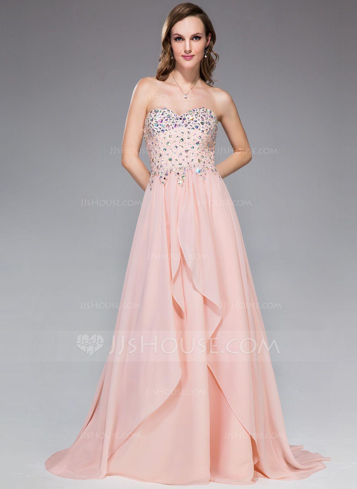 Alineprincess sweetheart sweep train chiffon prom dress with