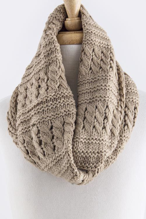 Weekender Mixed Woven Pattern Infinity Scarf - Pale Brown | Work and ...