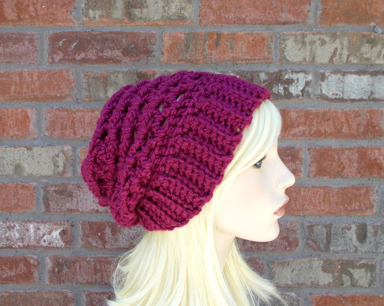 24264fc3 Women's Hats Dark Pink Raspberry Slouchy Beanie Crochet Beanie Teen Hat  Winter Hat Knit Hat Gifts for Teen Girls Women's Clothing Cute Hat by  foreverandrea ...