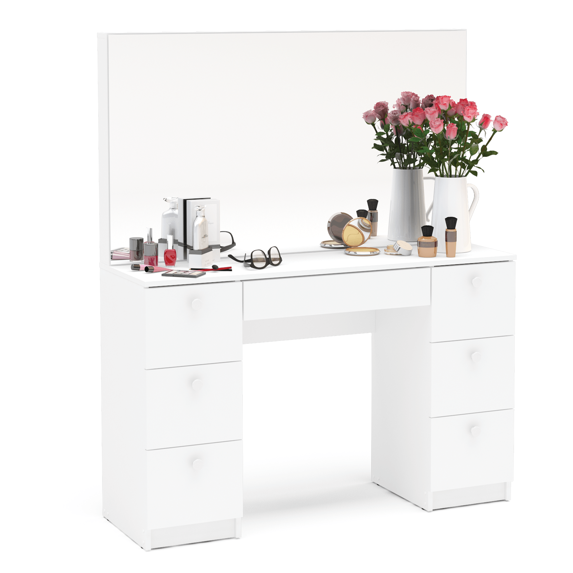 Boahaus Artemisia Modern Vanity Table With Mirror And 7 Drawers White Finish Walmart Com In 2020 Modern Vanity Table Corner Makeup Vanity Vanity Table