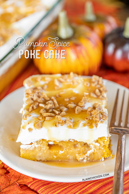 Pumpkin Spice Poke Cake - seriously delicious! The perfect ending to your holiday meal! Super easy to make. Yellow Cake, pumpkin, pumpkin spice, caramel sauce, sweetened condensed milk, toffee bits, cool whip, and caramel sauce. Even pumpkin haters LOVE this easy cake! Great for all your Fall get-togethers. A real crowd pleaser!