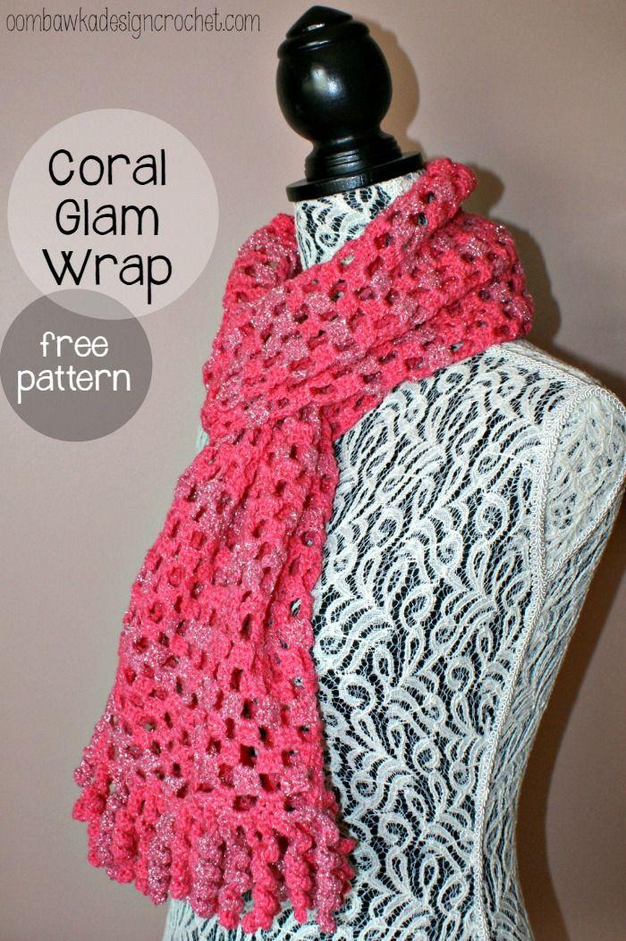 Coral Glam Wrap | Bufandas de ganchillo, Tejer bufandas y Chal