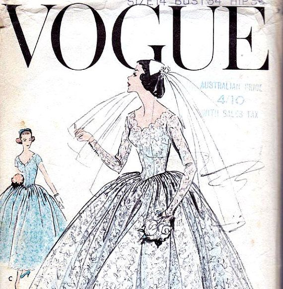 Vogue 9084 Vintage 1950s Wedding Dress Pattern Size 14 Bust 34 ...