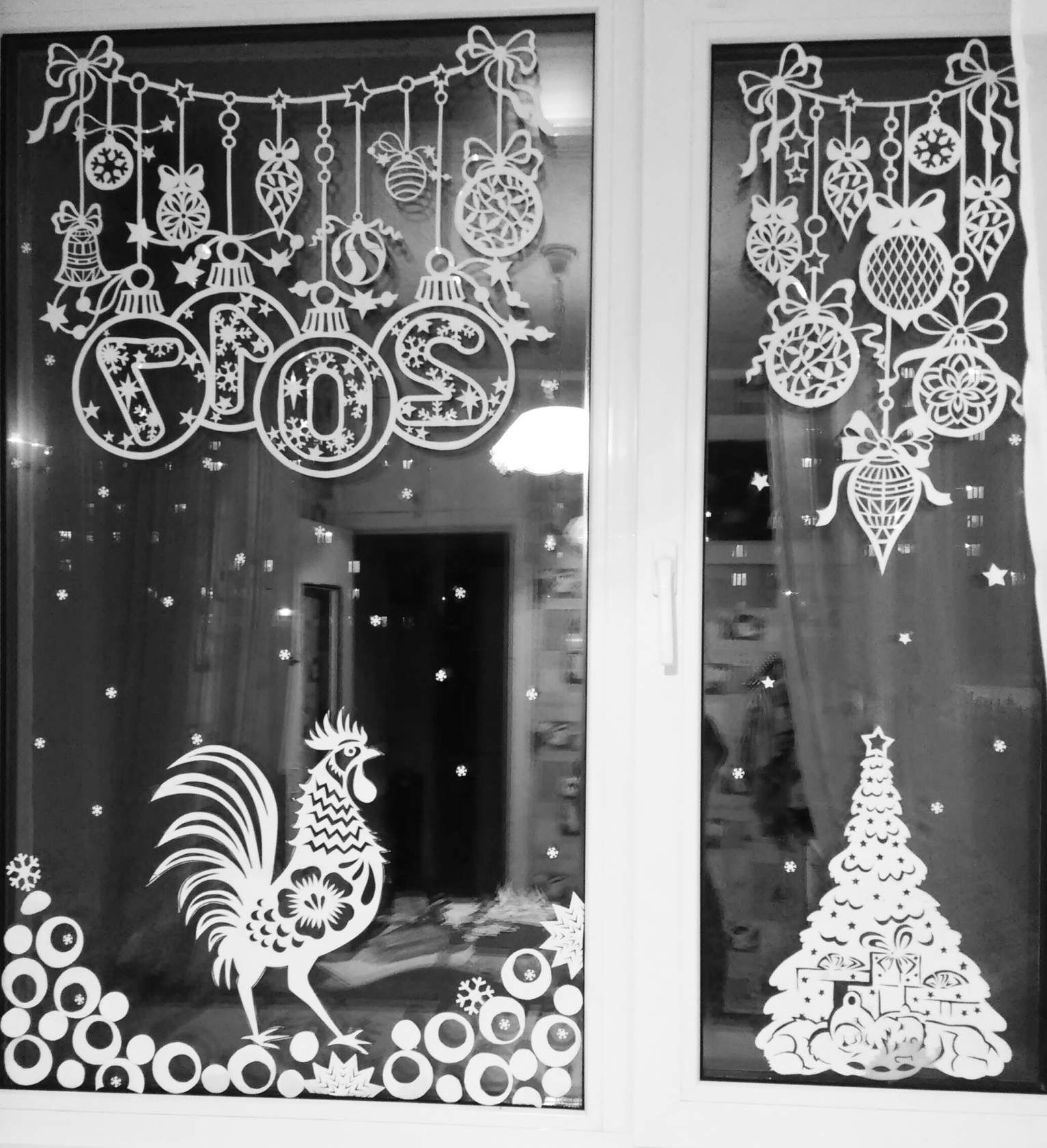 Украшение картинок на окно новый год