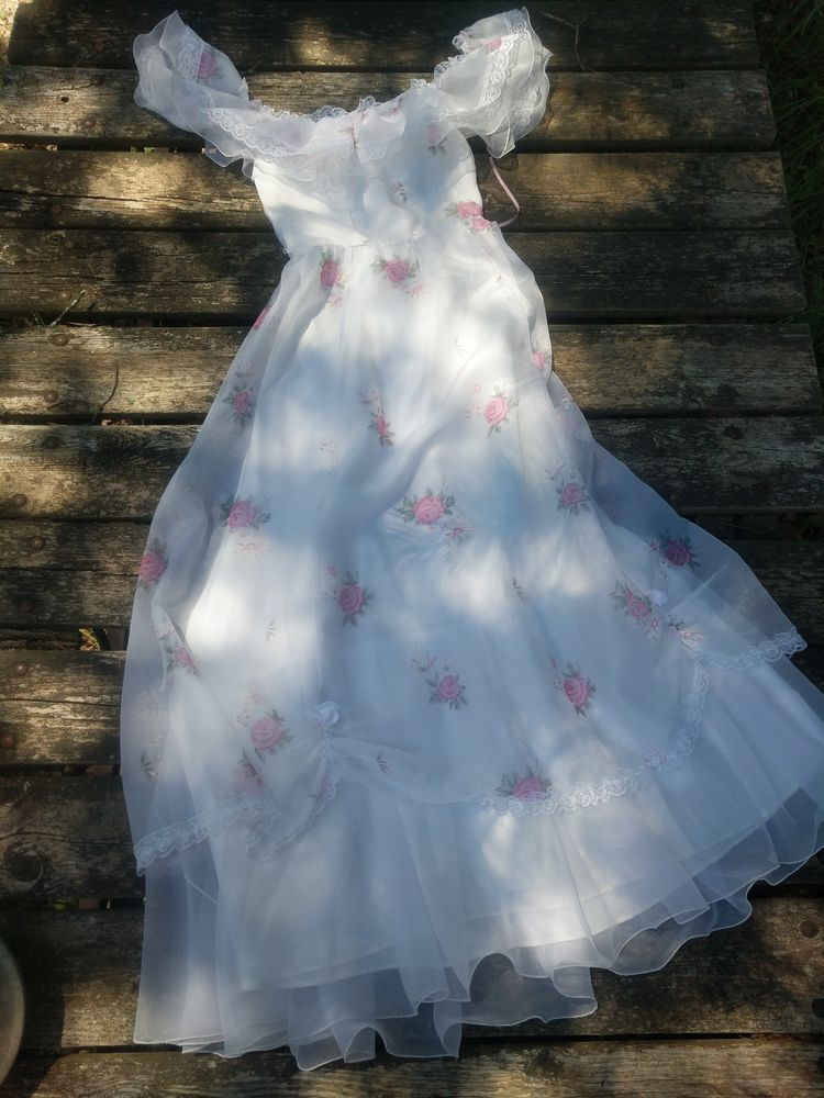 Handsewn little girls formal gown white with pink roses