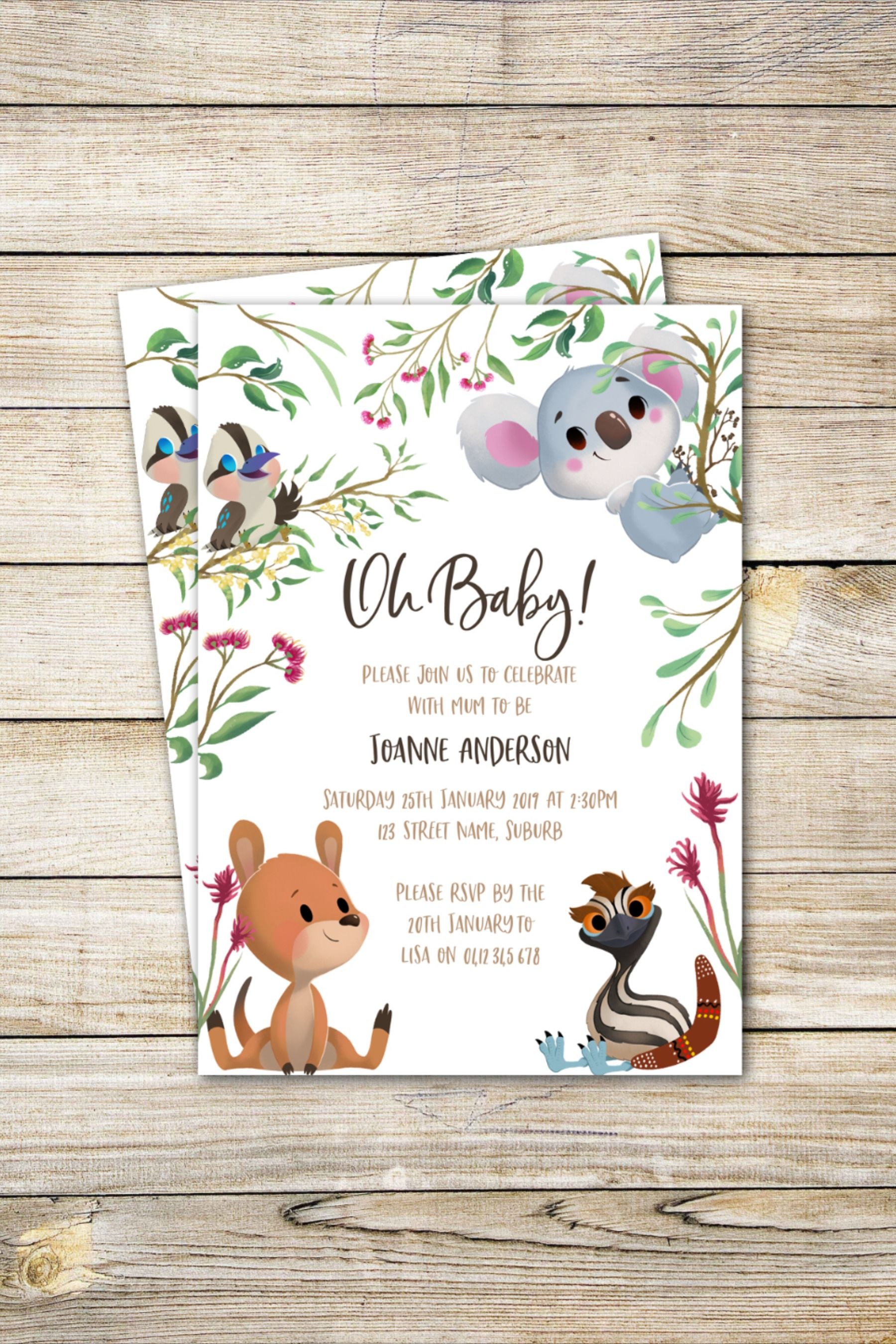 Baby Shower Invitation Australian Animal Theme Gender Neutral Native Anim Animal Baby Shower Invitations Animal Baby Shower Theme Baby Shower Invitations