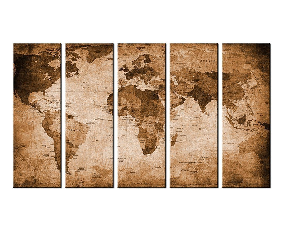 Vintage world map canvas prints wall art decor framed 36x60 inch 5 vintage world map canvas prints wall art decor framed 36x60 inch 5 panels large retro gumiabroncs Image collections