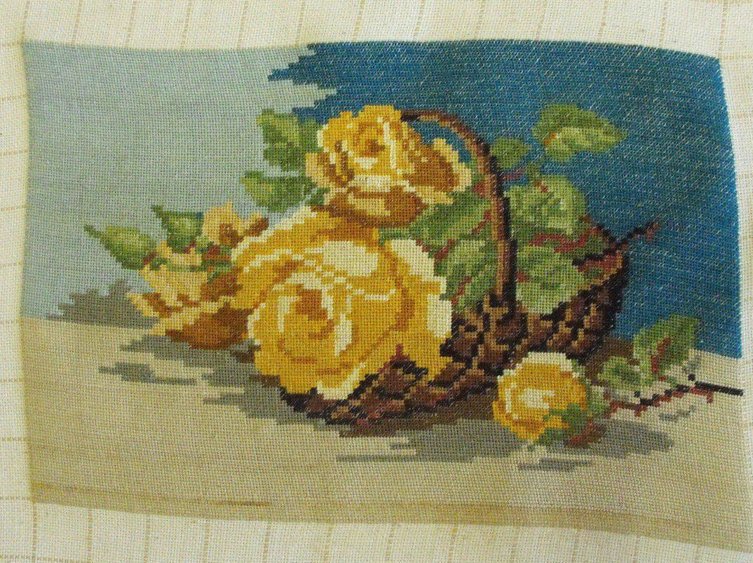 Gobelin Roses,Wellow roses,Tapestry roses,Free shiping,Basket of ...