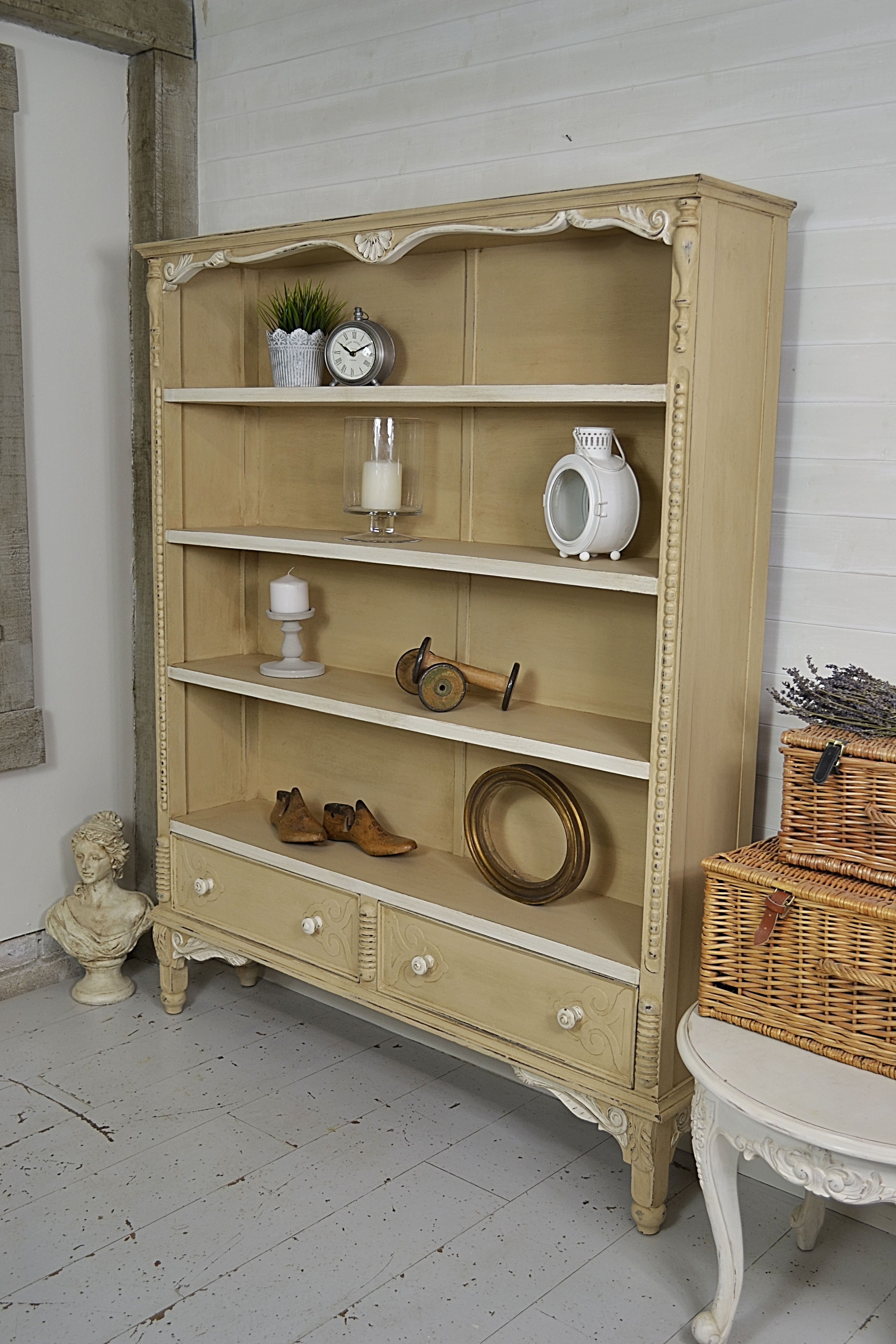 it has bookcase antique scrolls bookshelf edges pin beaded with its shabby chic detailing this and s beautiful
