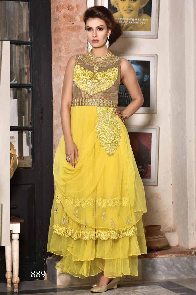 Yellow color designer party wear long length gowns from skysarees