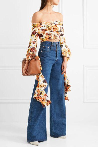 High Noon Off-the-shoulder Ruffled Floral-print Crepe Top - Orange Ellery Cheap For Cheap qSHqllV4