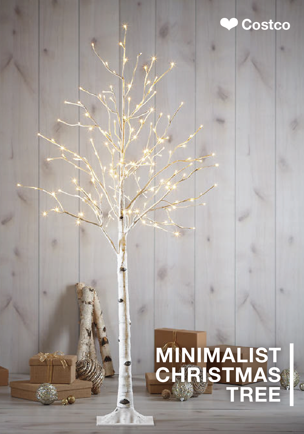 Beautiful indoors or outdoors this holiday birch tree for Modern minimalist christmas decorating