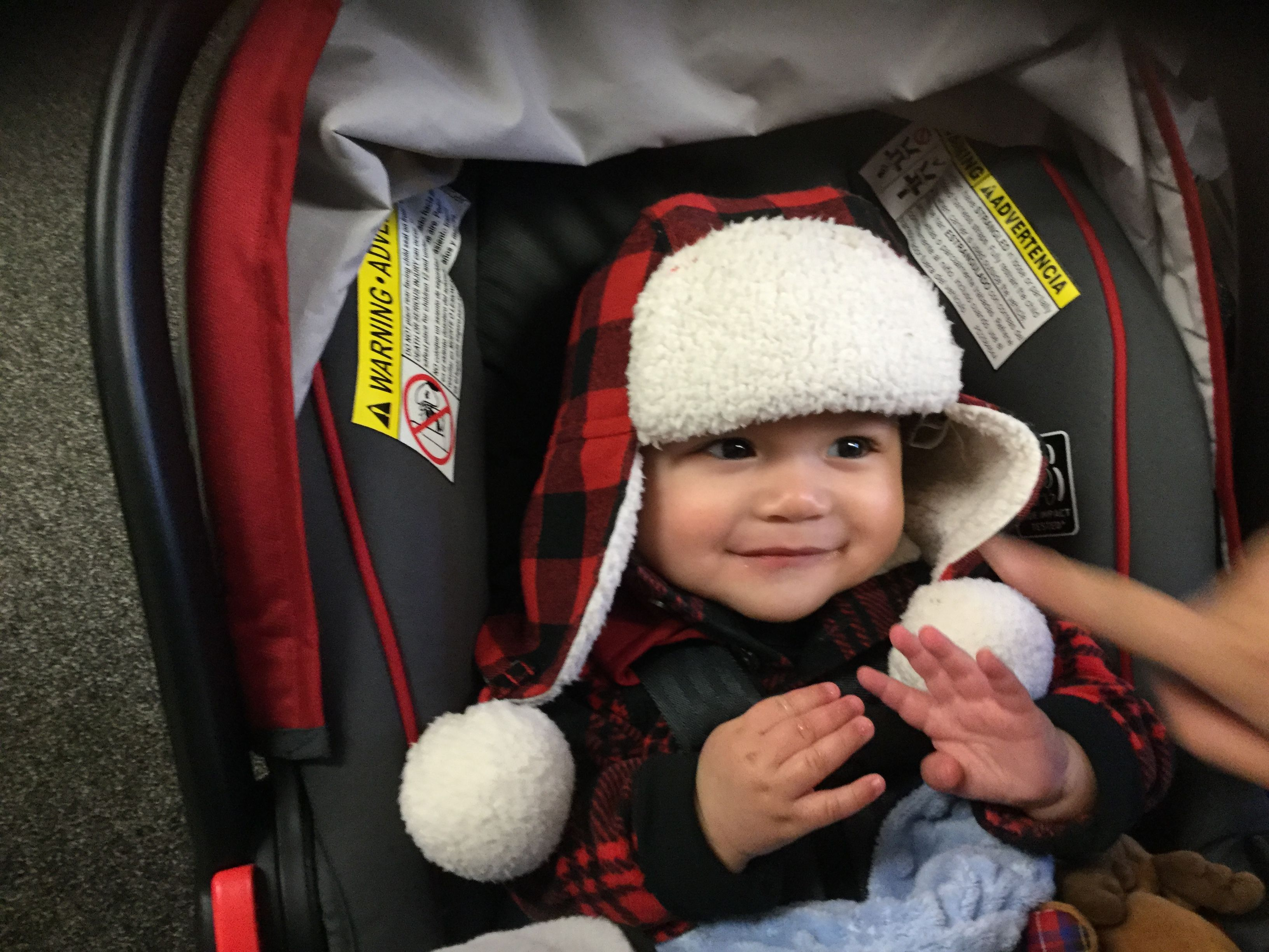 fa8b87166ad Little David is so adorable sporting his  BuffaloPlaid Bomber hat! What a  treat to