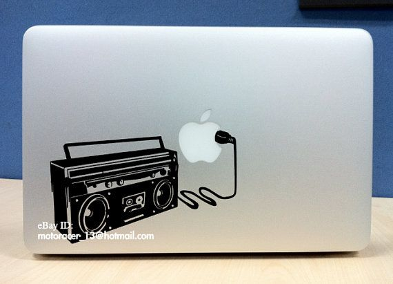 Dj boombox apple sticker high quality vinyl decal for macbook pro