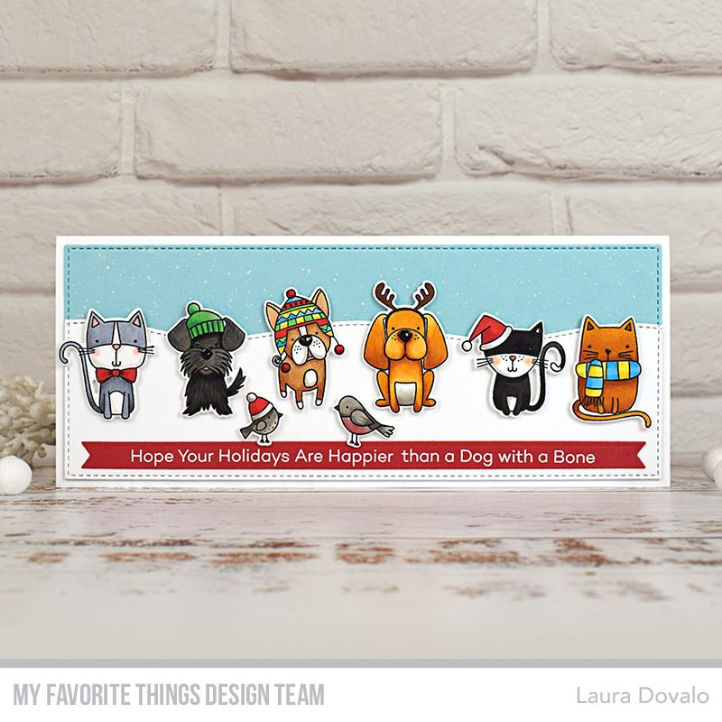 Slimline Christmas card for September MFT & Friends in