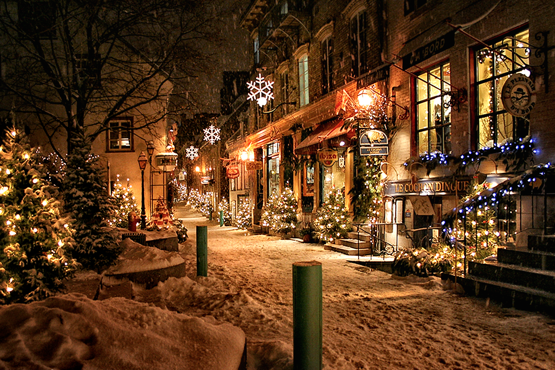 """conflictingheart: """"quebec city's petit champlain neighbourhood at christmas. estabilished in 1608, it is the oldest commerical district in north america. photo by Gaetan Bourque"""