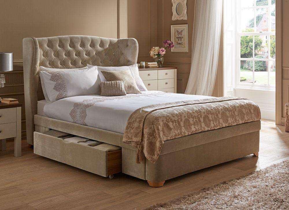 Maree Velvet Finish Upholstered Bed Frame Upholstered