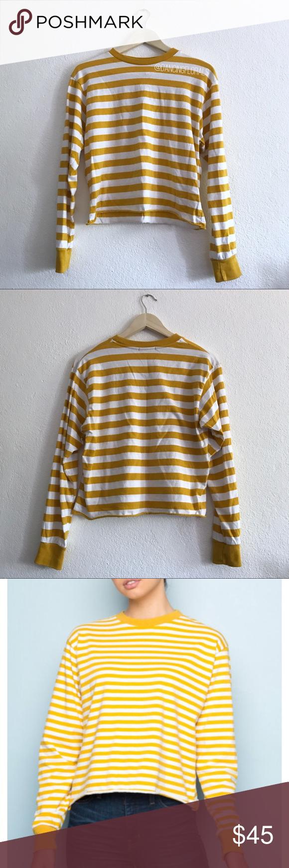 b834aeef6d Long Sleeve Tops · Italy · Brandy Melville Acacia deep yellow mustard  sweater Brandy Melville Deep yellow mustard and white striped Acacia