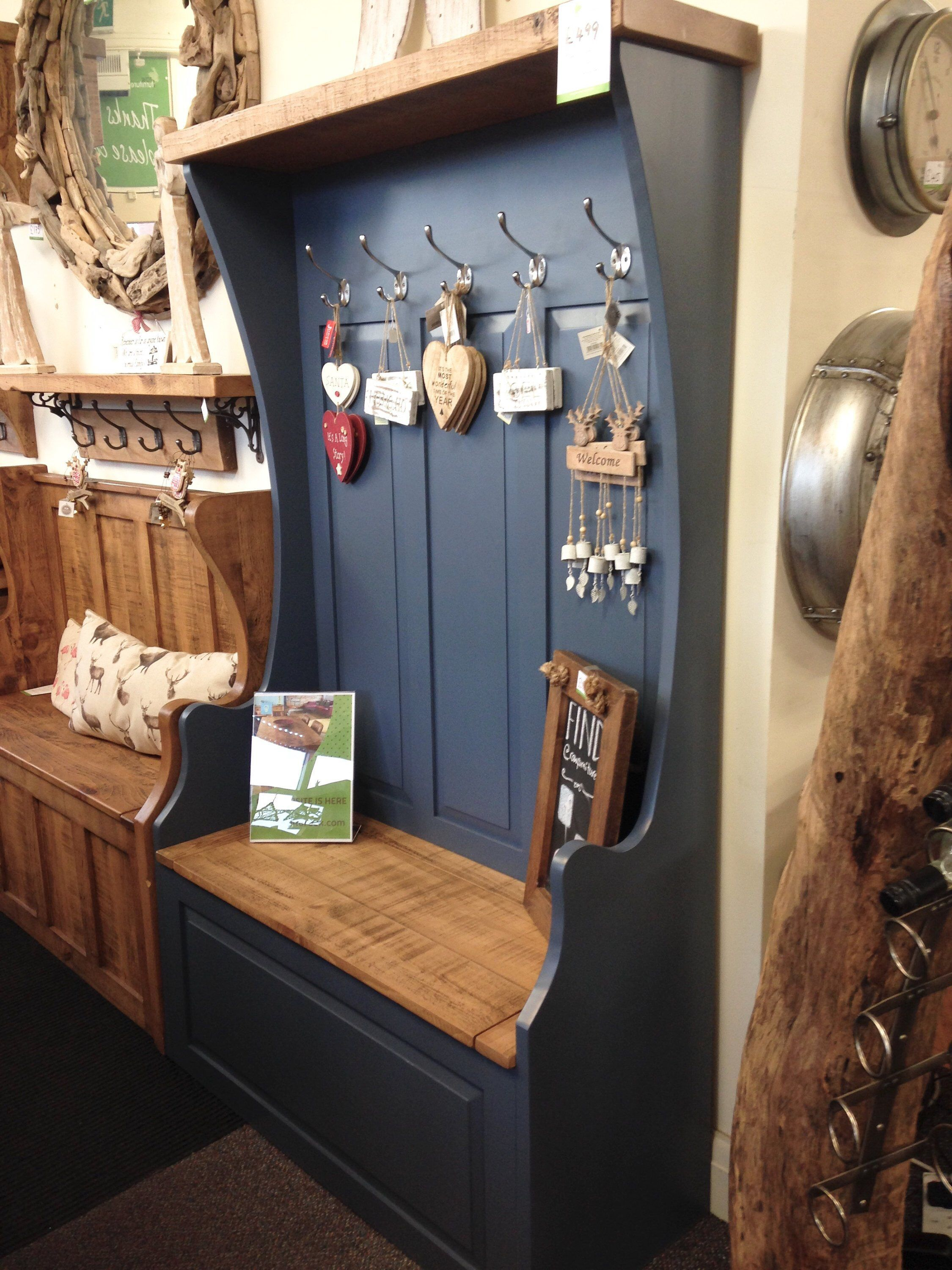 Rustic Painted Solid Wood Monks Bench Hallway Mudroom Bootroom