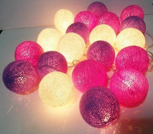 Fairy Lights – string lights purple cotton ball decor party – a unique product…