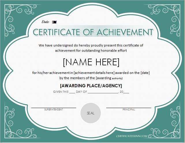 Certificate Of Achievement Template For Ms Word Download At Http