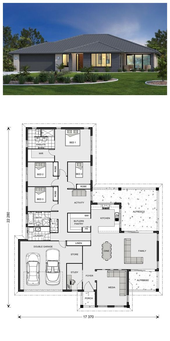 Parkview 290 My House Plans House Plan Gallery Family House Plans Floor plan modern family house