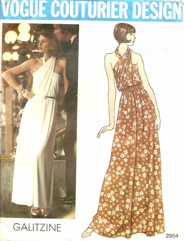 Details about 70s Vogue Couturier Design 2954 Evening Dress Sewing ...