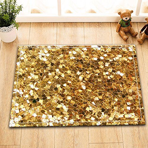 Lb Gold Bath Mat Digital Printing Customized Personality Flannel Outdoor Indoor Front Door Non Slip High Absorbent Bathroom Rugs 15 7x23 6 Inch