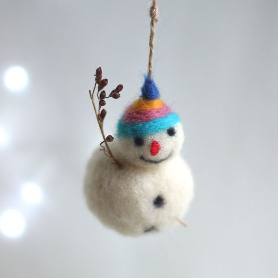 Needle Felt Snowman Christmas Tree Ornament Decoration