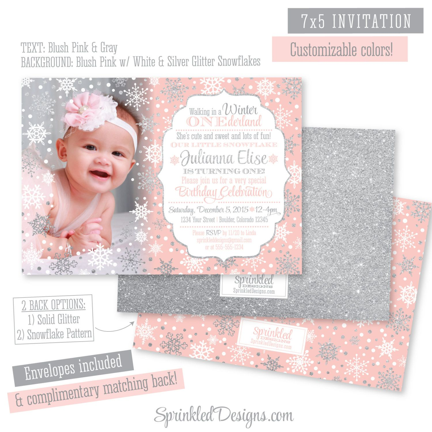 Winter ONEderland Invitation Girl Photo Card Blush Pink Silver