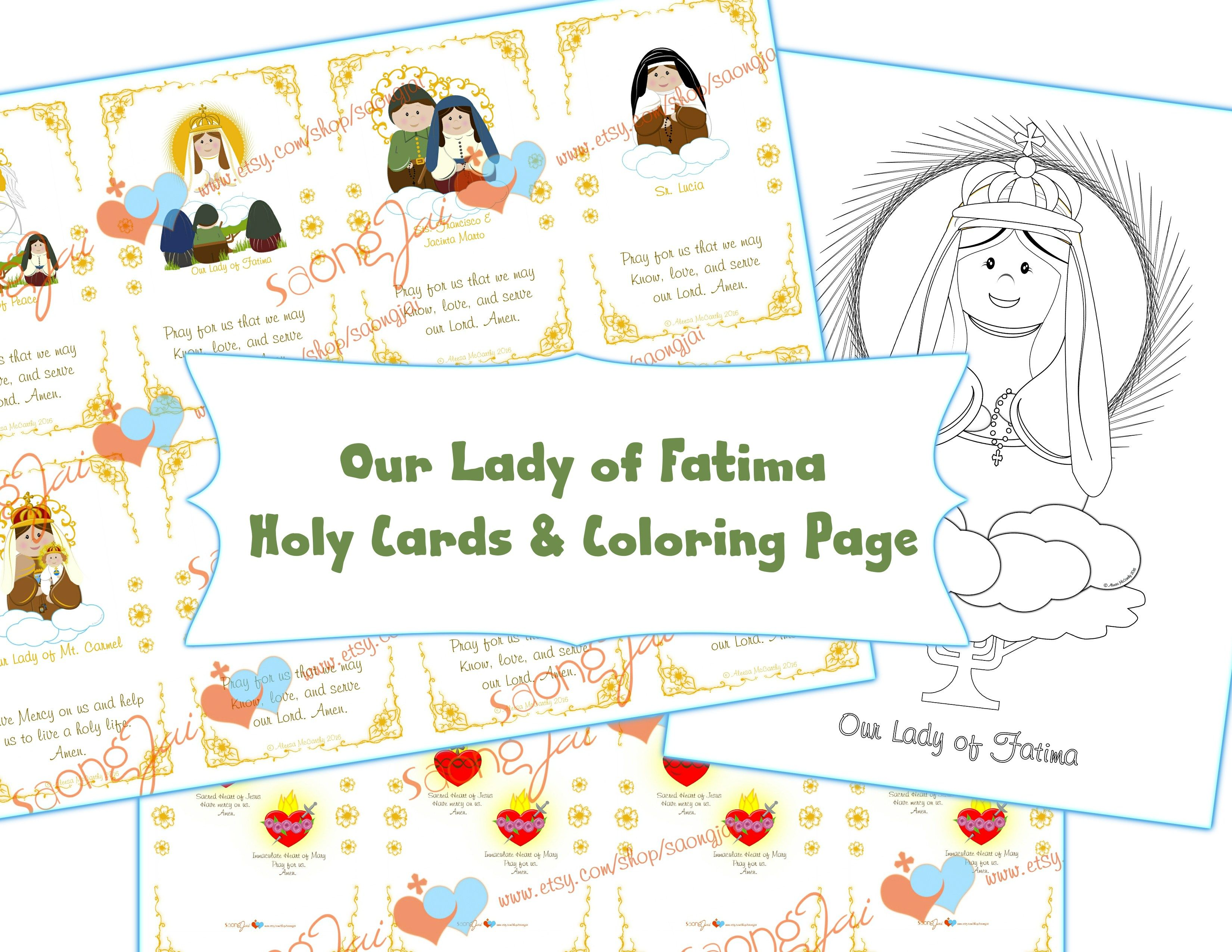 Our Lady Of Fatima Holy Cards Coloring Page Pdf First