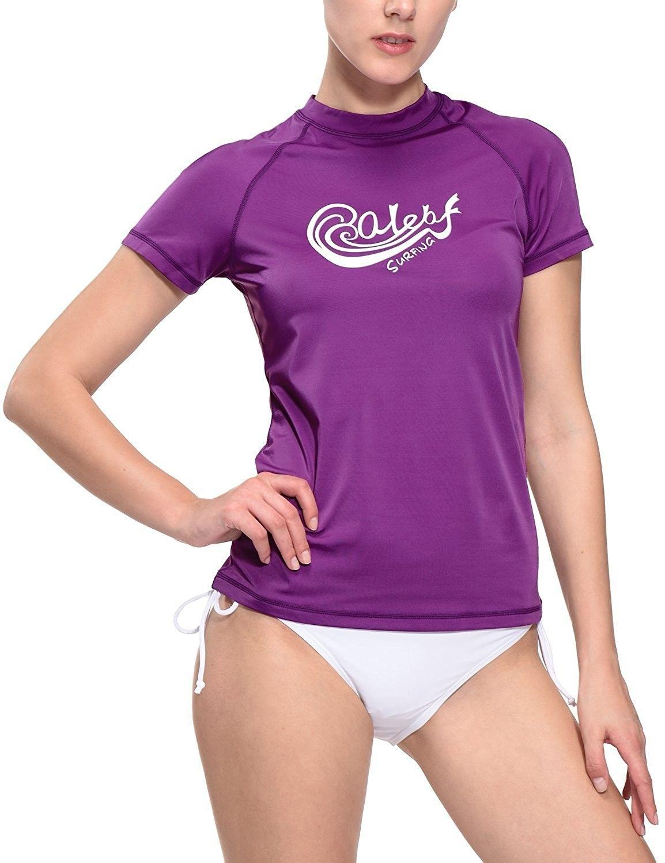3830e61ff67b1 Women s Short Sleeve Rashguard Swim Shirt Surf Top Sun Protective ...
