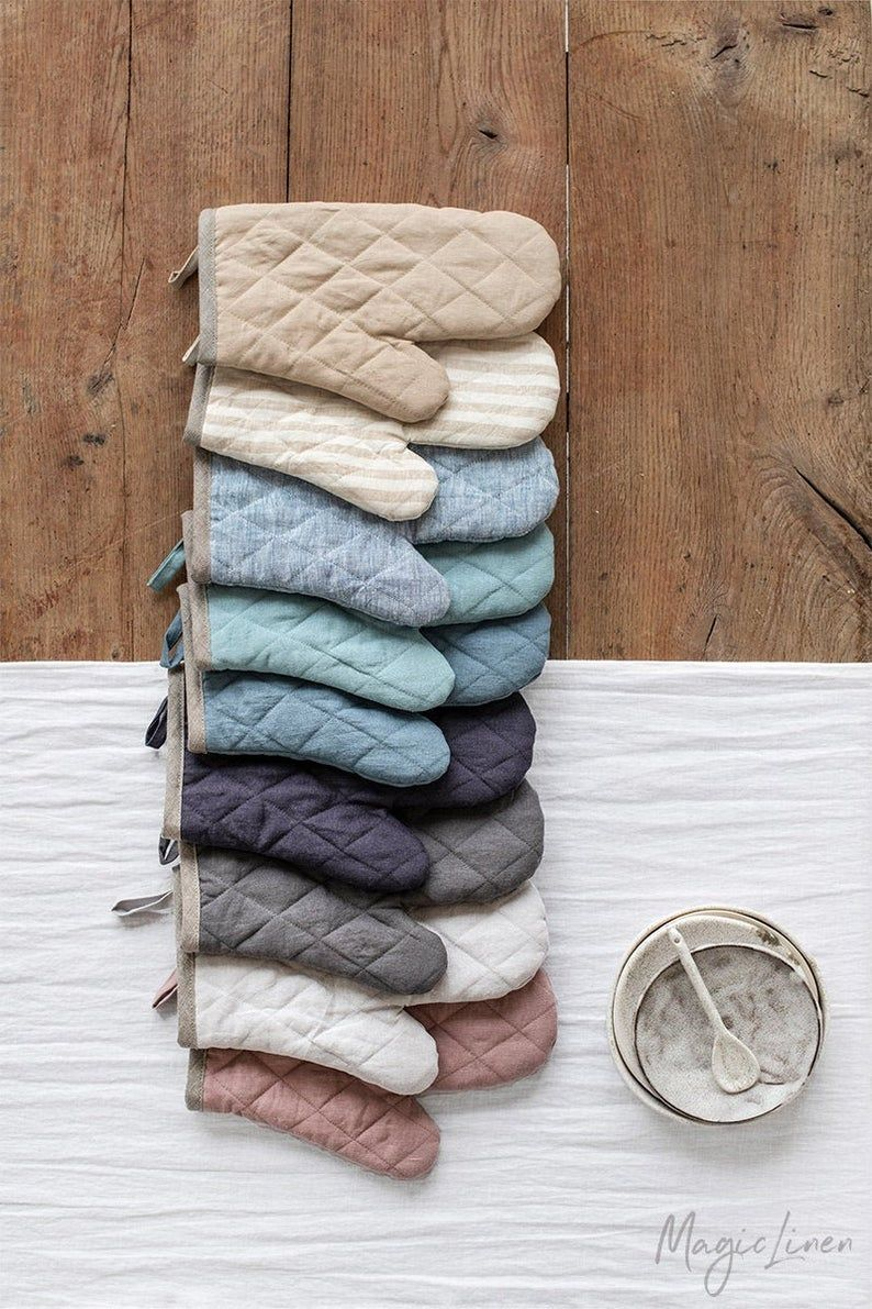 Linen Oven Mitt To Protect Your Hands From High Heat Quilted On
