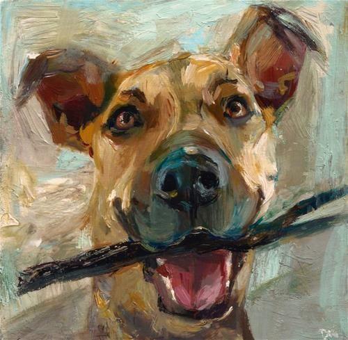"Original Fine Art For Sale: A Happy Dog,"""