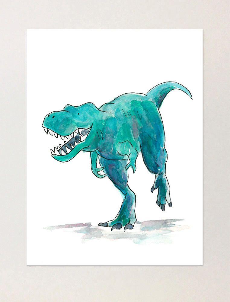 T-Rex Dinosaur Watercolor Print | Tyrannosaurus illustration for kids room | Friendly dinosaur art | dinosaur decor