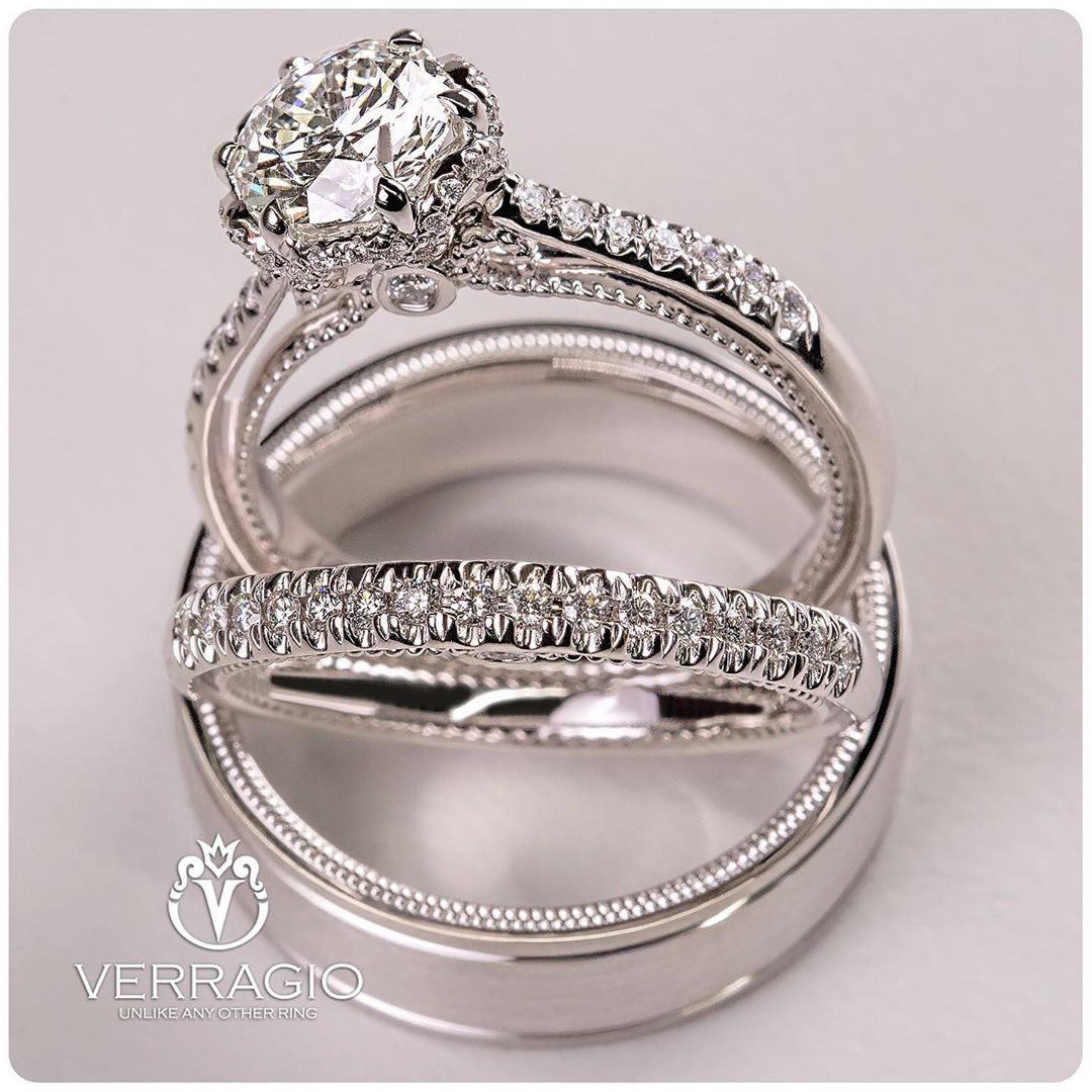We Are So Good Together Couture 0429 0429w And Vw 7018 By Verragio Unique Engagement Rings Diamond Engagement Ring Set Engagement Rings