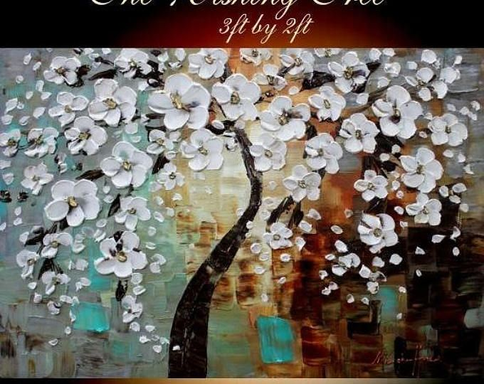 Sale Original Comtemporary Oil Painting Wall Art White Cherry Blossom Tree Thick Texture Grey Rust Seafoam Colors By White Blossom Tree Wishing Tree Painting