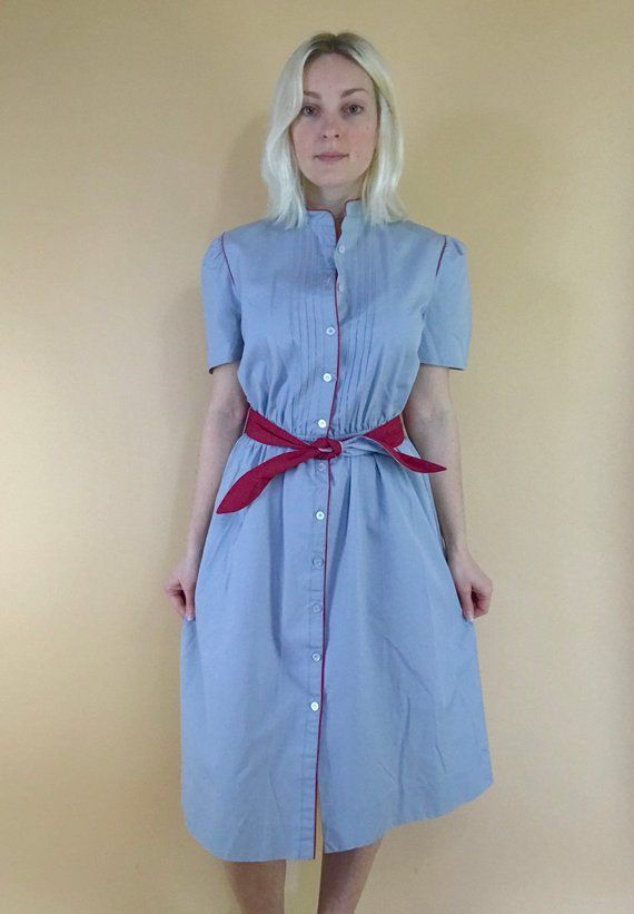 Vintage 1940s Color Block Swag Dress: Vintage 1970s Waitress Uniform Dress Grey Red Color Block