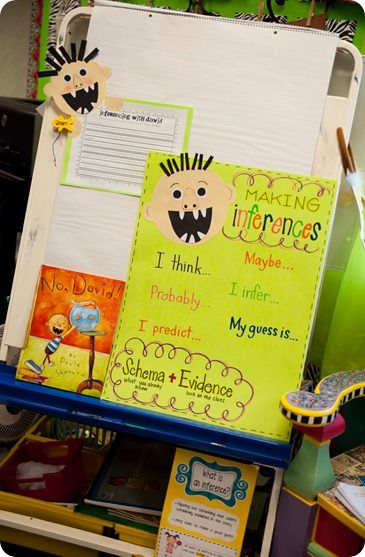 """A cute idea to teach inferencing using the book """"No David!"""""""