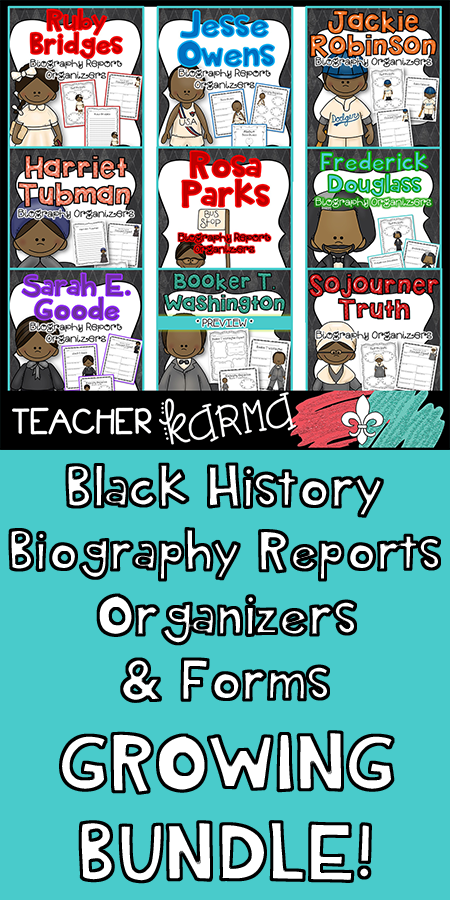 Photo of Black History Month Biography Report Organizers & Forms BUNDLE