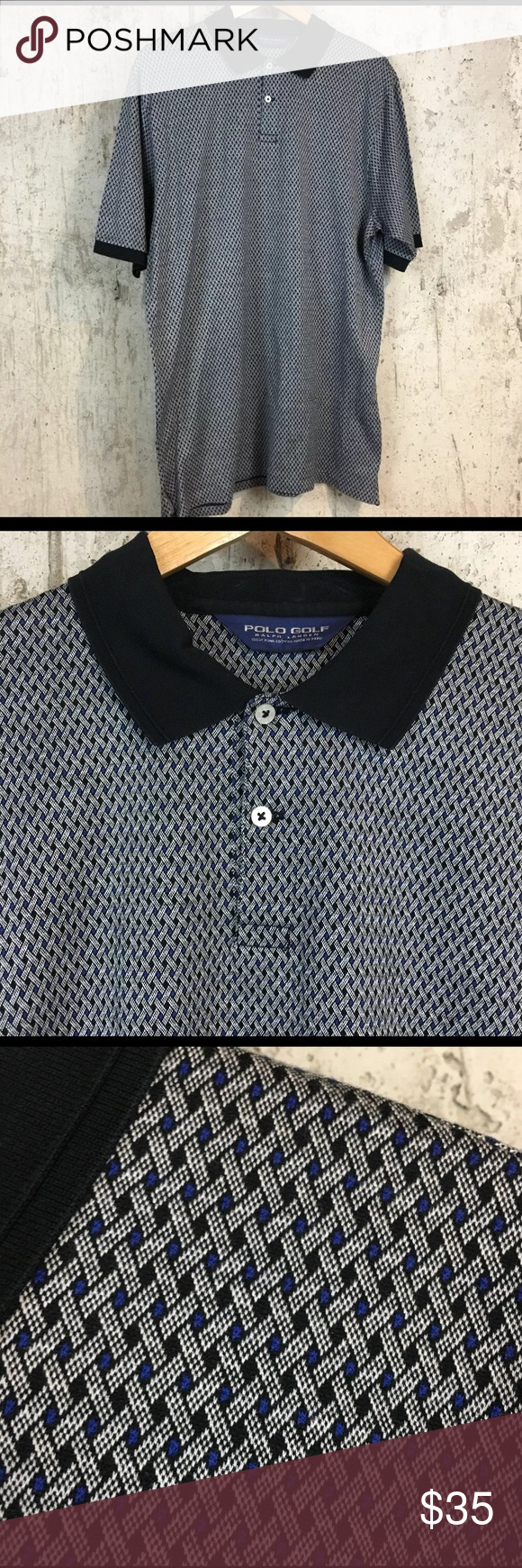 4973042b Polo Ralph Lauren Golf L Diamond Print Polo Shirt Polo Golf Ralph Lauren polo  shirt. Navy blue and silver with a weave pattern. 100% pima cotton.