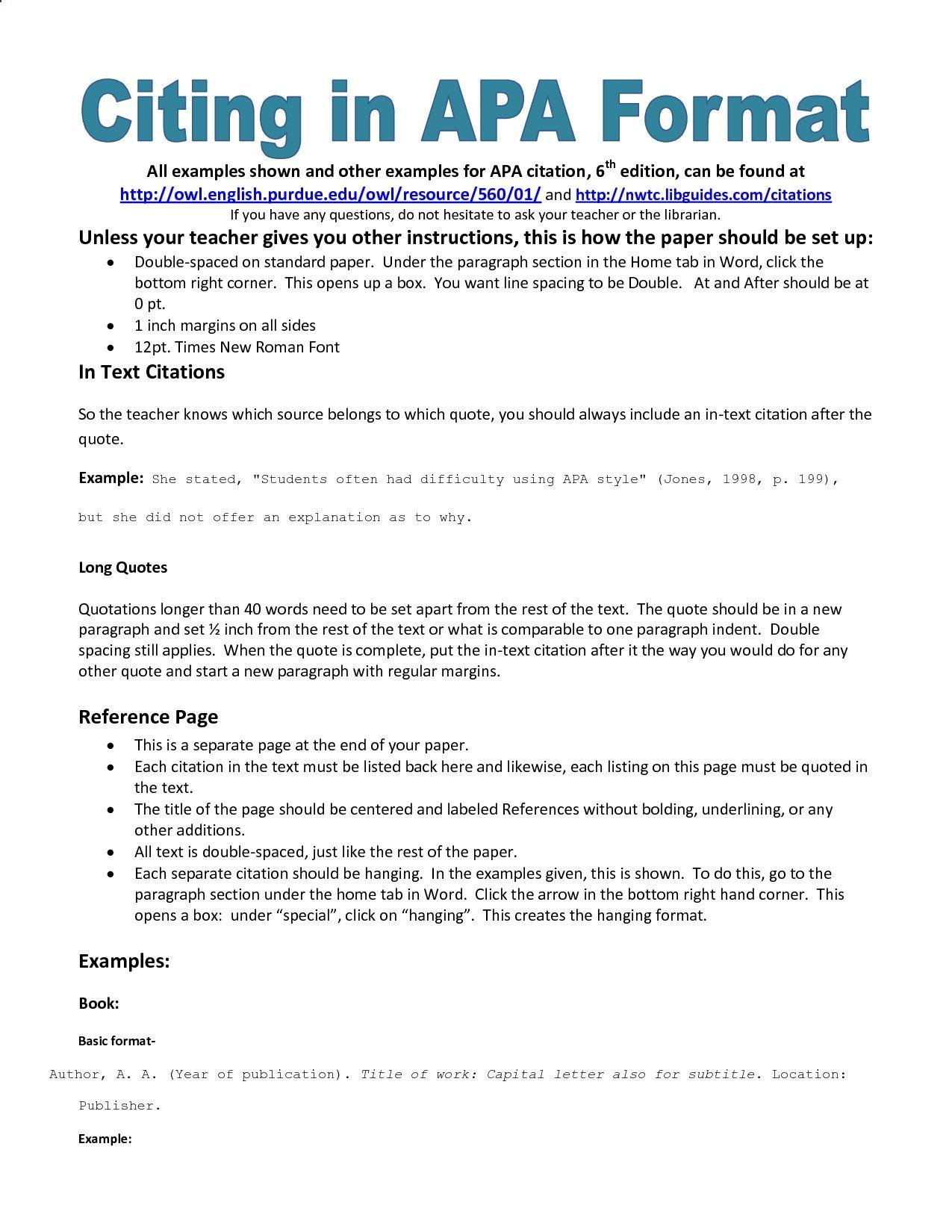 Example Of Apa Citation In Paper Apa Citation Handout More Essay Format College Writing Apa Essay